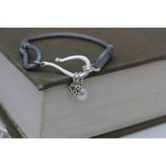 Personalised Leather and Silver Charm Bracelet- silver