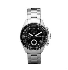 Fossil Mens CH2642 Stain Stainless Steel Bracelet Black Analog Dial Chronograph Watch $84.95