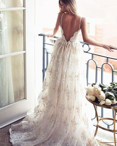Sexy V neck Ivory Wedding Dress, Spaghetti Straps Wedding Gowns, Lace Wedding Dress, Vintage Wedding Dresses, A-line Bridal Dresses, Backless Wedding Dress