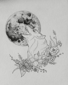 Wolf Tattoo Design by @AinnKampf #moon #tattoo #wolf #flowers se ve adecuado para el muslo en mi opinión #ink
