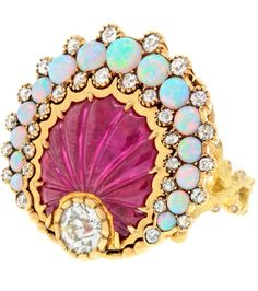 {Gorgeous Ring No.14} Carved Ruby Diamond Opal Sea Shell Ring by Lawrence Jeffrey Alchemy Collection | Haute Tramp