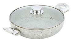 Bisetti BT-38373 Non-Stick Aluminum Stonewhite Pan with Handle, Medium, White
