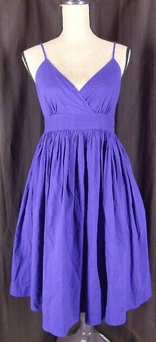 Maeve Anthropologie Blue Empire Waist Spaghetti Strap Pleated Belted Dress