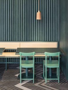 Stockholm café design channels the rocky terrain of Sweden and California... http://www.we-heart.com/2014/08/28/finefood-karlek-and-mat-stockholm/