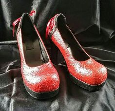 """Dorothy had given her her own ruby slippers! She couldn't wait, she put them on and spun around. She barely resisted the urge to click her heels together...""  #rubyslippers #WizardofOz #OnceUponATime #werewolves #sexy #ooak #handpainted #burlesque #cosplay #costume #halloween #glitter #platform"