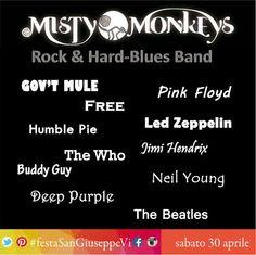20:45 Misty Monkeys Una band tosta di Rock & Hard-Blues. Gratis, ampio parcheggio. #festaSanGiuseppeVi