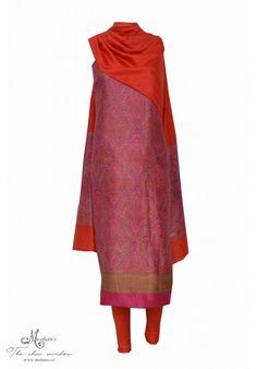 Elegant magenta printed suit