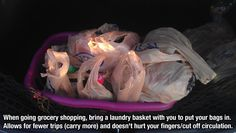 Life Hacks - keep a laundry basket in the car for carrying groceries