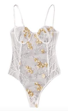 MakeMeChic Women Sexy Floral Embroidered Lace Up Sheer Teddy Bodysuit Shapewear Lingerie S Teddy Bodysuit, White Bodysuit, Embroidered Lace, Shapewear, Fashion Brands, Sexy Women, Topshop, Lace Up, Lingerie