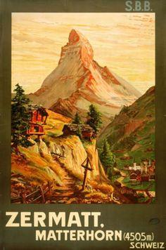Zermatt, Matterhorn, 4505 m, Schweiz - Vintage travel poster by François Gos (1903)