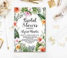 41 best bridal shower invitations images on pinterest in 2018 tropical bridal shower invitation hawaiian botanical palm leaf wedding shower printable invite filmwisefo