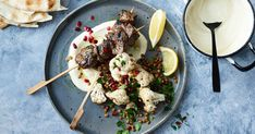 Enjoy Middle Eastern flavours with these lamb skewers served with hummus and cauliflower salad. Lamb Recipes, Meat Recipes, Vegetarian Recipes, Easy Homemade Recipes, Easy Dinner Recipes, Simple Recipes, Lamb Skewers, Kebabs, Lentil Salad Recipes