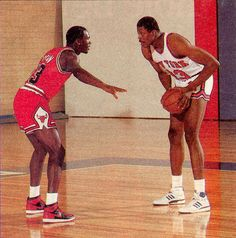 Patrick Ewing Vs. Michael Jordan. Old school basketball was the best ball ever played in my opinion.