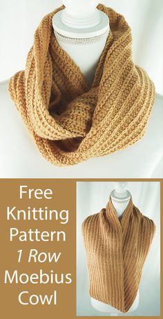 Free Knitting Pattern for Easy One Row Repeat Cowl Infinity Scarf - knitted scarf Snood Knitting Pattern, Infinity Scarf Knitting Pattern, Lace Knitting Patterns, Knit Cowl, Easy Knitting, Knitting Designs, Knitting Yarn, Cowl Patterns, Finger Knitting
