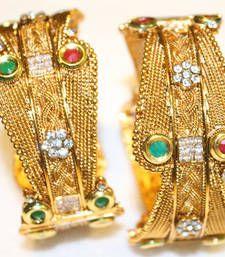 Buy Golden Designer Kada with Diamond bangles-and-bracelet online