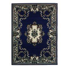 DonnieAnn TajMahal 112 Navy area rug 5'x7', Blue