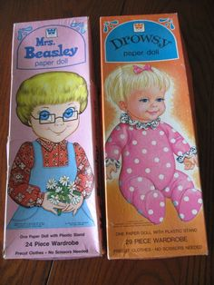 2 Vintage Sets of Paper Dolls - Mrs. Beasley and Drowsy