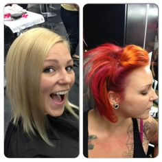 Before: outgrown Aline with multi tones blondes After: asymmetrical Aline with red/magenta/orange using pravana vivids and iridescent grey in the back using wella 7/89 in color touch