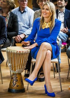 "Queen Maxima in La Dress ""Maria"" by Simone with NATAN necklace - MFC Het Kristal, 2015"