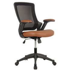 Mid - Back Mesh Task Office Chair with Height Adjustable Arms - Brown - Techni Mobili