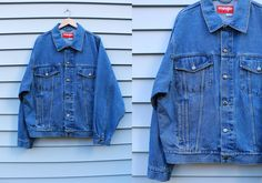 Vintage Vtg Vg 1990's 90's WRANGLER Hero Mens' Size Extra Large Blue Jean Denim Jacket Hipster Retro Country Western Rocker Motorcycle by foxandfawns on Etsy