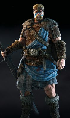 """The """"Hyperborea"""" gear style is one of the three rare level armor sets for the Highlander class (Along with the Badb& Ragnald Sets) for the Viking Faction in For Honor. Fantasy Character Design, Character Concept, Character Inspiration, Character Art, Fantasy Male, Fantasy Warrior, Dark Fantasy, Medieval World, Medieval Fantasy"""