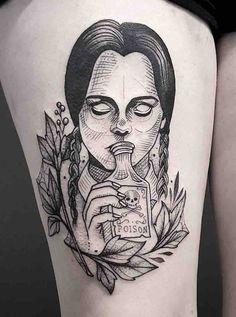 The Very Best Wedesday Addams Tattoos skull tattoo The Very Best Wedesday Addams Tattoos Satanic Tattoos, Emo Tattoos, Spooky Tattoos, Cartoon Tattoos, Pin Up Tattoos, Dream Tattoos, Black Tattoos, Body Art Tattoos, Small Tattoos