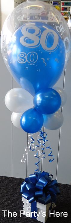 Topiary Tree with box & bow, including a double bubble balloon on top. Long lasting air filled display, can be used as a table centrepiece or gift bouquet. www.thepartyshere.com.au