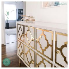 Transform your IKEA™ Kallax and more. Overlay fretwork Styl-Panel is a gracious, inspiring nod to Moroccan zillige tilework. Ikea Furniture, Furniture Makeover, Painted Furniture, Furniture Design, Ikea Kallax Unit, White Paneling, Custom Cabinetry, Living Room Decor, Decoration