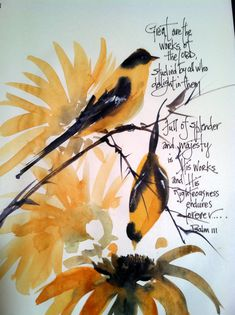 Watercolor of goldfinches with Sunflowers. by WatercolorTales