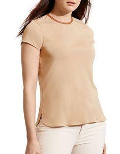 Lauren Ralph Lauren Plus Short Sleeve Jersey Tee Women's Tan 2X