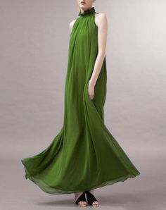 Hey, I found this really awesome Etsy listing at https://www.etsy.com/listing/158824839/grass-green-chiffon-dress-maxi-dress