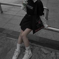 Image may contain: one or more people, shoes, child and outdoor Edgy Outfits, Korean Outfits, Swag Outfits, Grunge Outfits, Cool Outfits, Fashion Outfits, Mode Ulzzang, Ulzzang Girl, Alternative Outfits