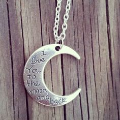 I love you to the moon and back silver Charm necklace for Country Southern Girl Guy Jewelry Birthday Friend Christmas Girlfriend Wife Gift by Featherpick on Etsy