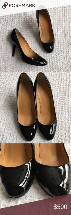 "J. Crew Black Patent Heel Shoes Leather Italy Genuine leather. Made in Italy. Size 7.5. Heel height is 3.5."" The tips of both heels have a bit of wear. Some slight scuffing but not very noticeable. Very glossy black! J. Crew Shoes Heels"