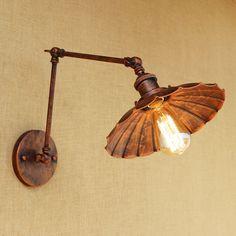 67.20$  Buy now - Retro Loft metal wall lamp LED/Edison bulb adjustable 4 sizes Lamp arm iron lampshade for living room bedroom restaurant bar E27  #magazineonlinewebsite