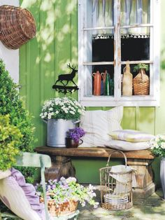What fun the green would be in the screen house. Outdoor Spaces, Outdoor Living, Swedish Cottage, Screen House, Outside Decorations, Green Theme, Garden Furniture, Outdoor Gardens, Living Spaces