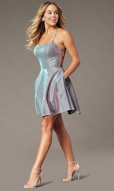 Shop short iridescent metallic homecoming dresses at PromGirl. Violet party dresses, open-back hoco dresses in metallic knit, and a-line backless dresses with corset ties, pockets, and scoop necks. Terani Dresses, Hoco Dresses, Party Wear Dresses, Dance Dresses, Pretty Dresses, Casual Dresses, Party Dress, Sparkly Dresses, 1950s Dresses