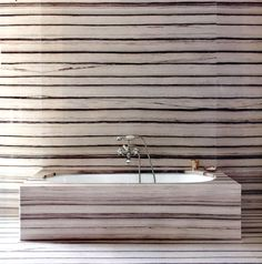 bathroom designed by Peter Marino with zebra-veined marble