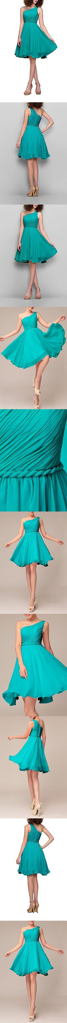 Formal Homecoming Dress One Shoulder Pleated Chiffon A-line Short Bridesmaid Dress, Color Turquoise ,2