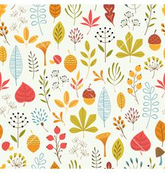 Autumn floral pattern vector - by fireflamenco on VectorStock®