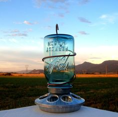 Upcycled Rustic Country Antique Blue Mason Jar Bird Feeder With Copper Hanger