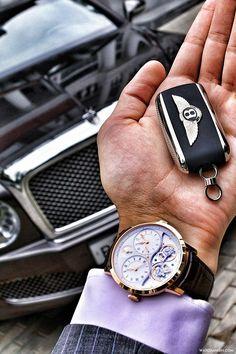 Arnold Son DBG in 18k rosé gold x Bentley Mulsanne.
