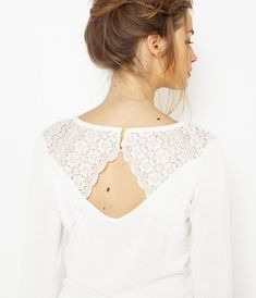 Pull dos ouvert en dentelle femme Pulls, Fashion Outfits, Lifestyle, Lady, Clothes, Shopping, Tops, Women, Blouses