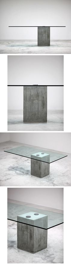 SERGIO AND GIORGIO SAPORITI dining table. Italy, c. 1970-80 cast concrete, glass, chrome-plated steel, stainless steel