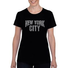 Los Angeles Pop Art Women's nyc Neighborhoods T-Shirt, Size: Small, Black