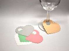 Items similar to Paper Heart Wine Glass Markers, Disposable Name Tags (set of on Etsy Wedding Table Name Cards, Wine Glass Markers, Arch Decoration, Wine Tags, Wedding Gifts For Couples, Wine Glass Charms, Deco Table, Diy Paper, Place Card Holders
