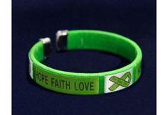 Hope, Faith Love, Green Ribbon Fabric Bangle Bracelet - Adult Size - (B-22-13H)