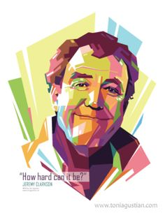 Jeremy Clarkson (the ex-BBC Top Gear - presenter) in form of colorful Pop Art Vector Design WPAP by Toni Agustian 2016-10-31.