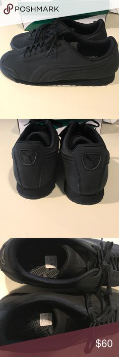 Puma matte Black Roma emboss sneaker Black Matte Puma Roma Emboss. Size 10 bought them at the puma store but the fit way to big tried to make it work but it didn't. Never worn! Brand New. Puma Shoes Sneakers